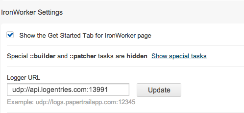 IronWorker logs UDP configuration