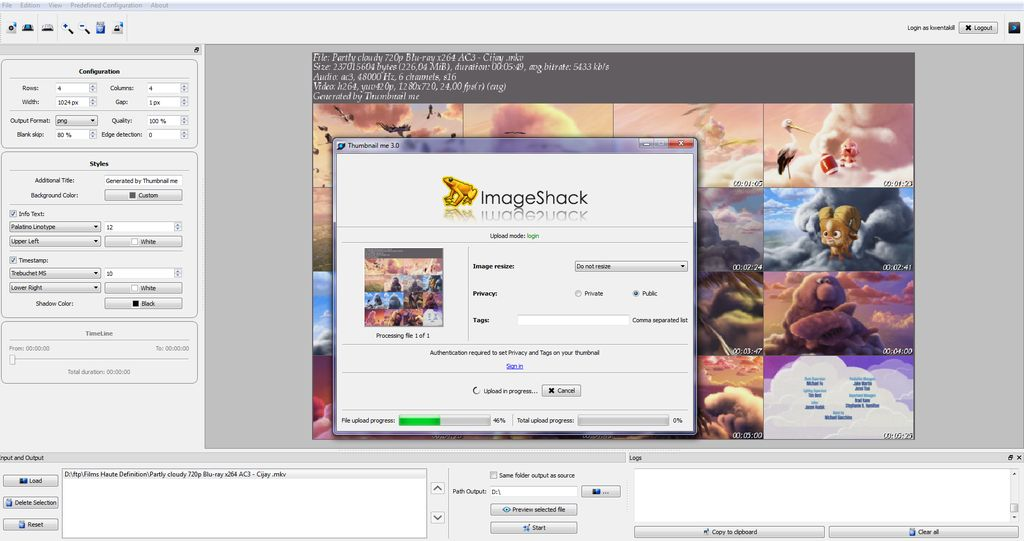 Upload your thumbnails directly to ImageShack